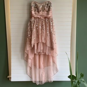 Formal strapless sequin high & low dress